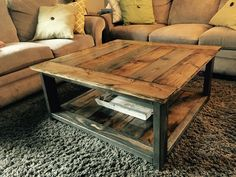 Rustic-X coffee table. Ana White plans. Minwax dark walnut and Varathane weathered gray stain. Finished with Minwax gloss poly.