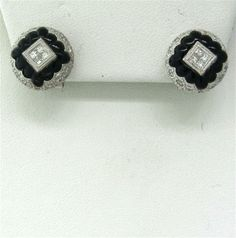 18k Gold Diamond Onyx Earrings. Available @ hamptonauction.com for the May 18th Auction!
