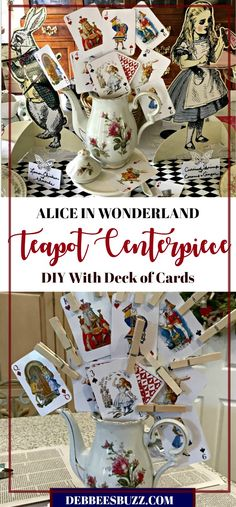 DIY Alice in Wonderland Cards and Teapot Centerpiece. Make your own for your next mad tea party! Teapot Centerpiece, Tea Party Centerpieces, Alice In Wonderland Teapot, Alice In Wonderland Decorations, Mad Hatter Party, Mad Hatter Tea, Mad Hatters, Mad Tea Parties, Alice In Wonderland
