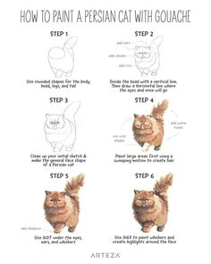"""ARTEZA on Instagram: """"Step-by-step we've made it through 2020 together, with a little help from some fun #LearnWithArteza tutorials. Here are the most popular…"""" Realistic Cat Drawing, Drawing For Kids, Cat Drawing Tutorial, Cat Steps, Easy Doodle Art, Tumblr Art, Watercolor Cat, Watercolor Paintings, Simple Doodles"""
