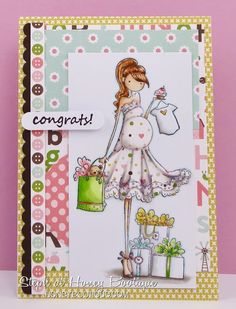 Honey Bootique: Stamping Bella Uptownie Brynn Has A Baby Shower Baby Shower Cards, Baby Cards, Baby Mini Album, Shower Bebe, Paint Cards, Baby Scrapbook, Digi Stamps, Handmade Baby, Cool Cards