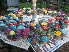"Make clay mushrooms for our fairy garden -- make a larger blue mushroom for ""table"" then color smaller mushrooms (chairs) to match GS Daisy --- for GS Fairy gardens, have girls paint a GS Daisy on the mushroom cap..?? Garden Crafts, Outdoor Gardens, Cake Pops, Cake Pop, Cakepops"