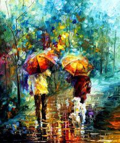 As belas pinturas impressionistas de noites de chuva de Leonid Afremov