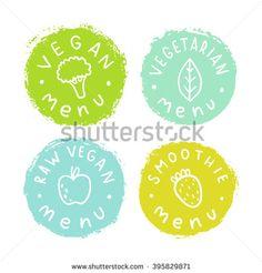 Set of vegan, vegetarian badges. Vector hand drawn illustration