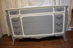 Antique Solid Wood Dresser Painted Annie Sloan Chalk Paint French White Grey Lrg