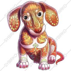 Dachshund Dog Adult Coloring Book Page. Zentangle Doodle