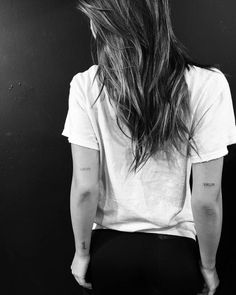 celebritattoo:Alexis Ren   Matching date tattoos on the back of...