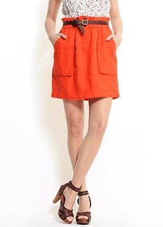 WARDROBE orange skirt w front pockets at Mango