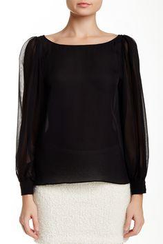 Jae Blouson Sleeve Silk Blouse by alice + olivia on @nordstrom_rack