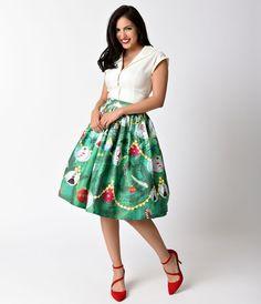 Unique Vintage 1950s Green Christmas Tree High Waist Circle Swing Skirt