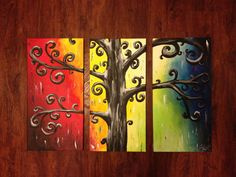 MADE TO ORDER free shipping 3 piece Abstract by IIIrdGenStudiosArt