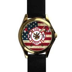 Popular Cool Firefighter Emblem and American Flag Unisex -tone Round Leather Metal Watch *** Unbelievable  item right here! : Travel Gadgets
