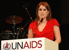 Princess Eugenie of York speaks on stage at the UNAIDS Gala during Art Basel 2016 at Messe Basel