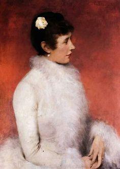 La dama in rosa,1887 by Ettore Tito (Italian 1859-1941)