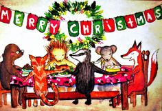 Christmas Card-The Family gathers 'round the table by EmmysAnimals