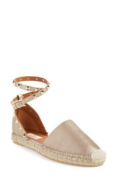 Valentino 'Rockstud' Ankle Strap Espadrille (Women)
