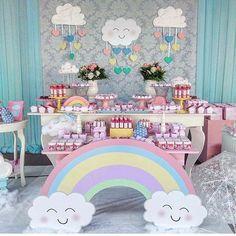 Festa linda , tema Chuva de Bençãos ! Inspiração do IG @ideiasdebolosefestas . Decor @josianesoaresdecor  #chuvadebencaos #festachuvadebencaos #festainfantil #festasinfantis #festamenina #maesemenina #chadebebe #babyshower #encantosdefestas