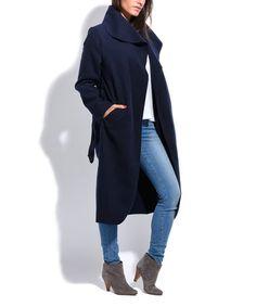 Look at this #zulilyfind! Navy Blue Wool-Blend Shawl-Collar Trench Coat #zulilyfinds