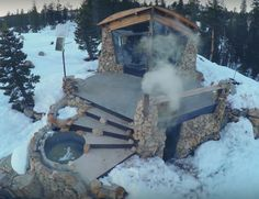 Professional snowboarder and photographer Mike Basich chose extreme downsizing over the fast pace of city life. He bought 40 acres deep in the mountains near Truckee, California and built a small stone cabin. It's off-grid, has no interior plumbing – the toilet is outside. Electricity comes from a few solar panels. It took five years …
