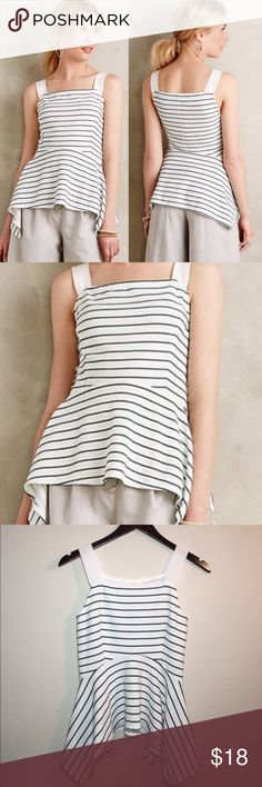 Anthropologie Deletta Striped Peplum Tank ✔️Grosgrain Ribbon Straps ✔️Peplum Hemline ✔️Hunter Green Stripes ✔️Polyester/Rayon/Spandex ✔️No Holes, Stains or Damages Anthropologie Tops