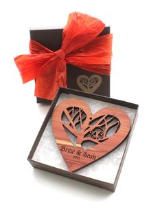 Rooted - NEW 2013 Design Wood Heart Ornament with Engraved Gift Box - Custom Engraved Sustainable Harvest Wisconsin Wood on Etsy, $16.95