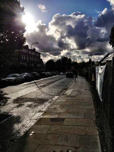 A moody sky over West Hampstead yesterday (via Highlights, Sidewalk, England, Europe, Tours, Sky, London, Heaven, Side Walkway