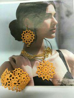 Tatting Earrings, Diy Earrings, Diy Necklace, Earrings Handmade, Wire Crochet, Thread Crochet, Knit Crochet, Crochet Earrings Pattern, Crochet Necklace