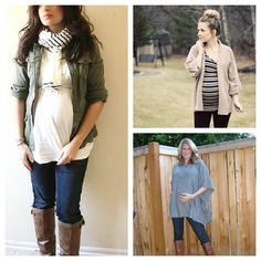 Maternity fashion-the far one with the scarf