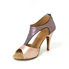 De mujer Satén Brillo Chispeante Tacones Sandalias Danza latina con Tira T Zapatos de danza (053026471) - JJsHouse