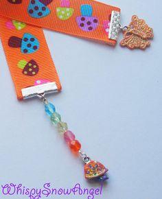 Mushroom Ribbon Bookmark Hand Painted Charms by WhispySnowAngel, $10.00