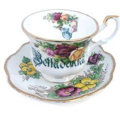 Belladonna Poison Altered Vintage Teacup ($34) ❤ liked on Polyvore featuring home, kitchen & dining, drinkware, drink & barware, home & living, silver, skull cup, vintage cups, vintage tea cups and colorful tea cups