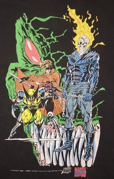 90s Vintage X-MEN Shirt Original 1990s MARVEL Promo COMIC Wolverine Ghost Rider