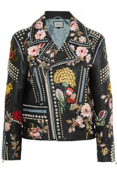 What's a better fall statement leather jacket than this gorgeous one from Gucci? Gucci Studded and Floral Embroidered Black Leather Biker Jacket; net-a-porter.com