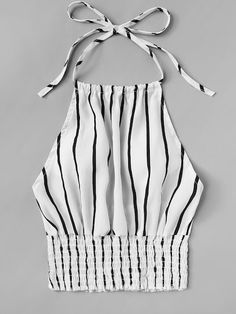To find out about the Striped Print Frill Hem Halter Top at SHEIN, part of our latest Tank Tops & Camis ready to shop online today! Crop Top Outfits, Cute Casual Outfits, Summer Outfits, Diy Clothes, Clothes For Women, Vetement Fashion, Plus Size Tank Tops, Cami Tops, Halter Tops
