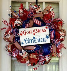 Patriotic Deco Mesh July 4th Wreath God Bless by SouthernWreathsAL