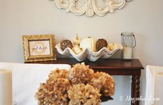 Fall dining room decor--the rest of the room is beautiful, too!