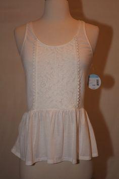NEW BONGO WOMENS SZ M WHITE FLORAL LACE CROCHET PEPLUM DRESS TOP SHIRT BLOUSE  #Bongo #Peplum #Casual