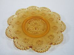 Amber Brockbury Glass Saucer With Beaded by DiverseCollectibles #aaamberglass #vintage #glassware