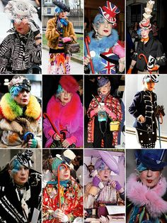 Anna Piaggi (1931 – August 7, 2012) was an Italian fashion writer and style icon. Piaggi, who contributed to dozens of Italian fashion magazines including Vogue Italia, was a runway fixture, garnering attention for her collection of hats, brightly colored fur stoles, and boas and predilection for layering wild patterns. Piaggi had a large clothes collection, including 2865 dresses and 265 pairs of shoes, according to a 2006 exhibition at the Victoria and Albert Museum in London.
