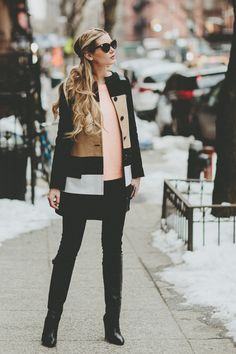 Street fashion blush shirt and color block coat.