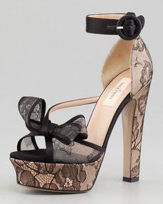 Valentino ~ Satin Lace Bow Platform Sandal