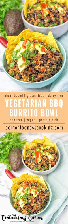 This Vegetarian BBQ Burrito Bowl is full of black beans, spicy garlic, and amazing flavors. It is super easy to make, vegan, gluten free and is everything you ask for in a stunning lunch, dinner, or snack.