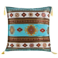 Sedef Chenille Cushion Cover, Turquoise