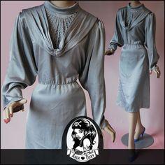 Vintage Arabian Nights Jeweled Satin Grey Dress - http://www.ebay.co.uk/itm/Vintage-Arabian-Nights-Jeweled-Satin-Dove-Grey-Bat-Wing-Cocktail-Dress-UK14-/281849042603?ssPageName=STRK:MESE:IT