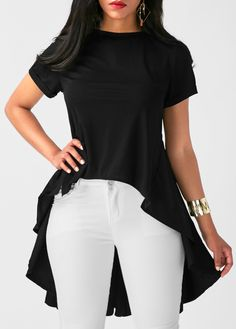 Solid Black Short Sleeve Pleated Blouse | Rosewe.com - USD $31.86