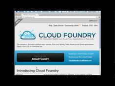 Getting Started - CloudFoundry.com and Micro Cloud Foundry Cloud Foundry, Cloud Computing, Clouds, Cloud
