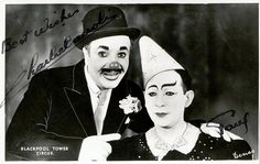 Promotional postcard for Blackpool's Tower Circus featuring Charlie Cairoli and Paul Freeman (1949)