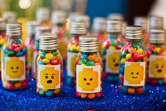 thank you gifts. Lego Movie Party, Lego Themed Party, Ninjago Party, Lego Birthday Party, Lego Ninjago, 5th Birthday, Lego Friends Birthday, Lego Friends Party, Lego Party Decorations