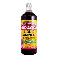 BRAGGS Liquid Amino Acids - stop using soy sauce. This stuff is amazing for you! Love all the Braggs products Hcg Diet Recipes, Gourmet Recipes, Crockpot Recipes, Healthy Recipes, Healthy Foods, Hcg Meals, Paleo Ideas, Paleo Food, Food Nutrition