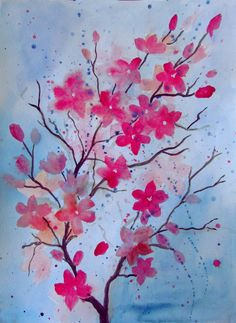 Cherry Blossom Painting Lesson Using Watercolor Paint